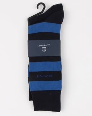 Gant 2 Pack Bar Stripe Socks Yale Blue