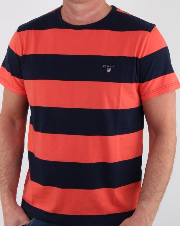 Gant Barstripe T Shirt Coral