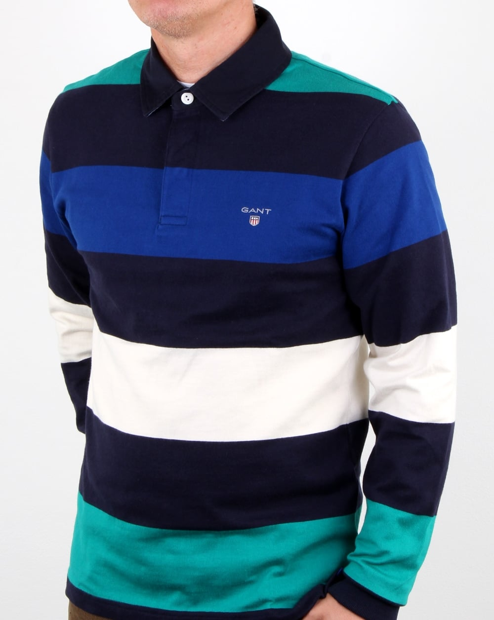 bbefe7754c4 Gant Block Stripe Heavy Rugger Evening Blue, Mens, Rugby, Cotton