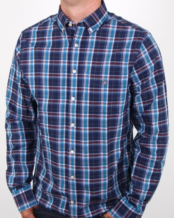 Gant Broadcloth Check Shirt Dark Indigo
