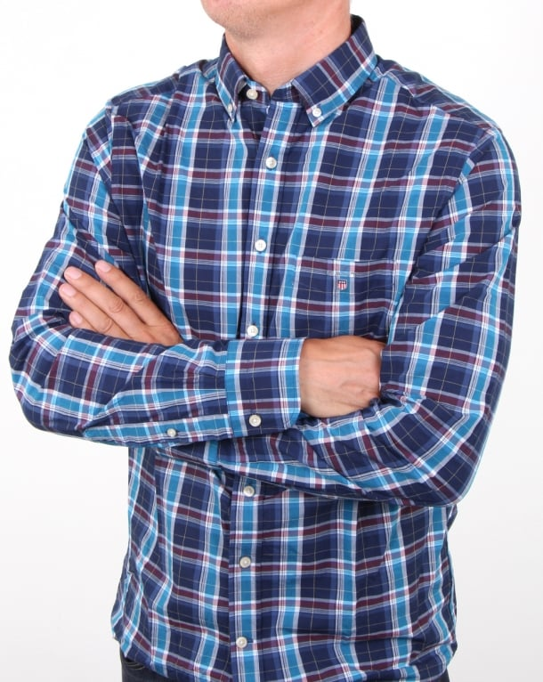 Gant Broadcloth Check Shirt Dark Indigo