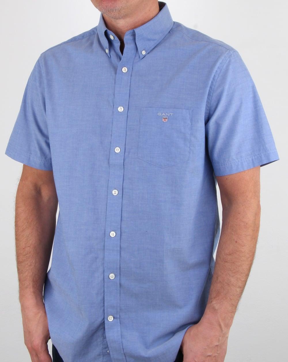 fee916d136b Gant Broadcloth Short Sleeve Shirt Yale Blue | 80s casual classics