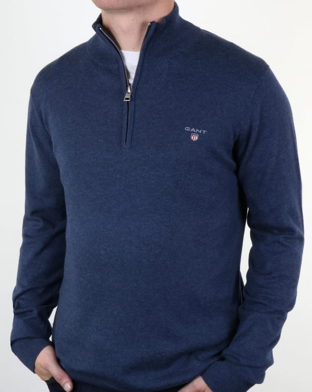 Gant Classic Quarter Zip Jumper Dark Blue