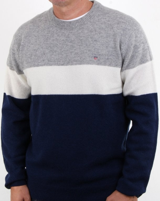 Gant Colourblock Stripe Crew Jumper Evening Blue