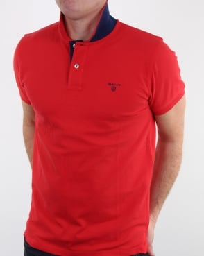 Gant Contrast Collar Polo Shirt Bright Red