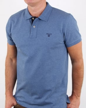 Gant Contrast Collar Polo Shirt Denim Blue