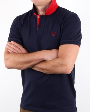 Gant Contrast Collar Polo Shirt Evening Blue