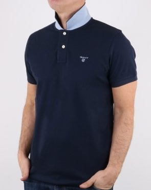 Gant Contrast Collar Polo Shirt Navy