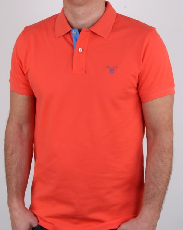 Gant Contrast Collar Polo Shirt Strong Coral