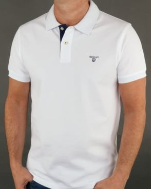 Gant Contrast Collar Polo Shirt White