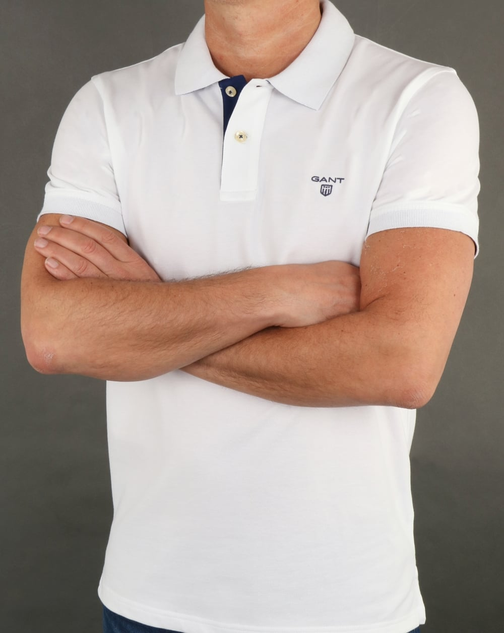 75acd2a039b9 Gant Contrast Collar Polo Shirt White, Mens, Polo, Cotton