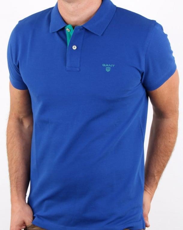 Gant Contrast Collar Polo Yale Blue
