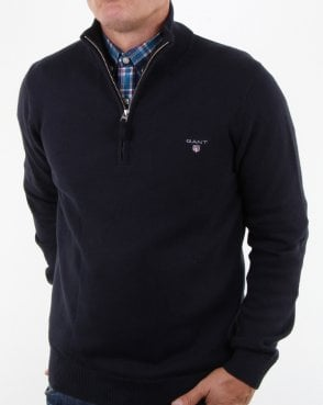 Gant Contrast Cotton Zip Navy