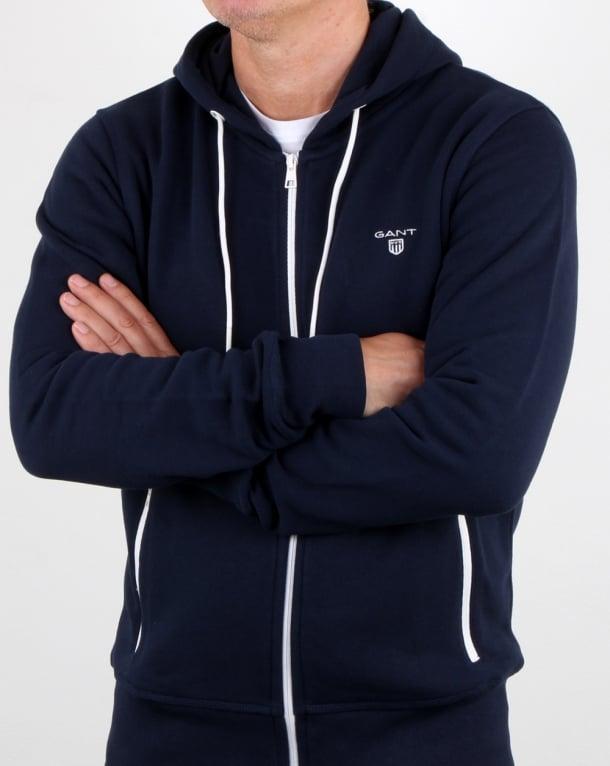 Gant Contrast Full Zip Hood in Navy-white