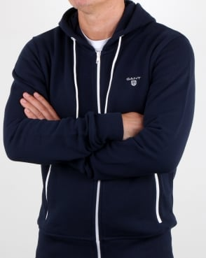Gant Contrast Full Zip Hood in Navy-white