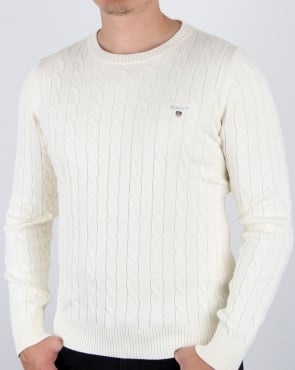 Gant Cotton Cable Crew Jumper Cream