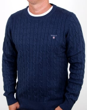 Gant Cotton Cable Crew Jumper Dark Blue Melange