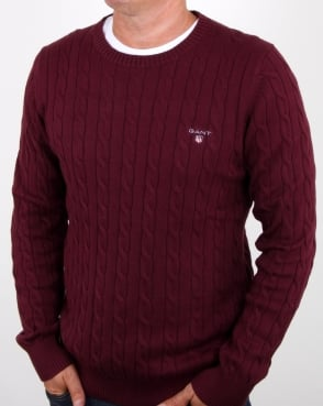 Gant Cotton Cable Crew Jumper Purple Wine