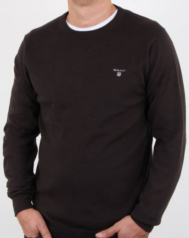 Gant Cotton Wool Crew Jumper Dark Brown Melange
