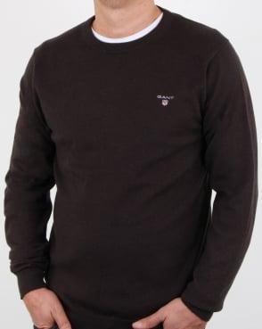 Gant Cotton Wool Crew Jumper Dark Brown Melange