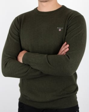 Gant Cotton Wool Crew Jumper Hunter Green Melange