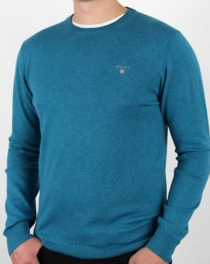 Gant Cotton Wool Crew Jumper Ink Blue Melange