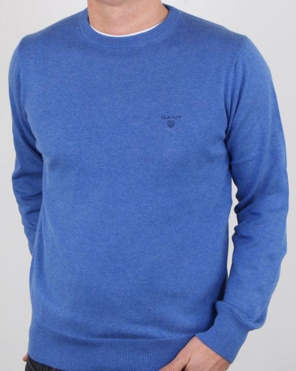 Gant Cotton Wool Crew knit Blue Melange