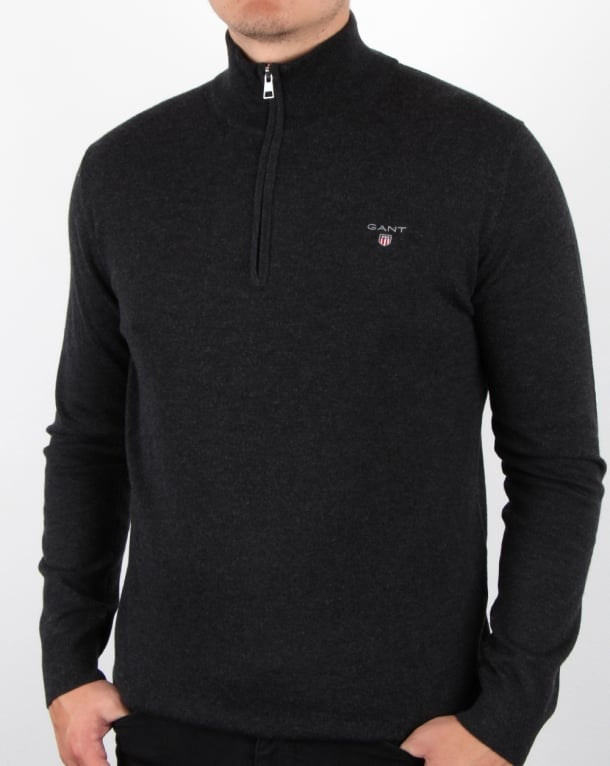 Gant Cotton Wool Zip Jumper Charcoal