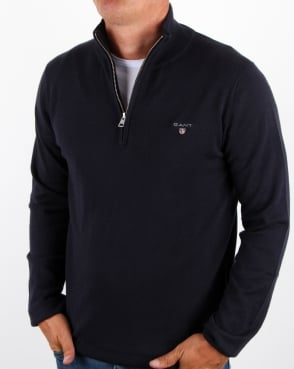 Gant Cotton Wool Zip Jumper Navy