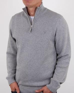 Gant Detail Texture Quarter Zip Grey Marl