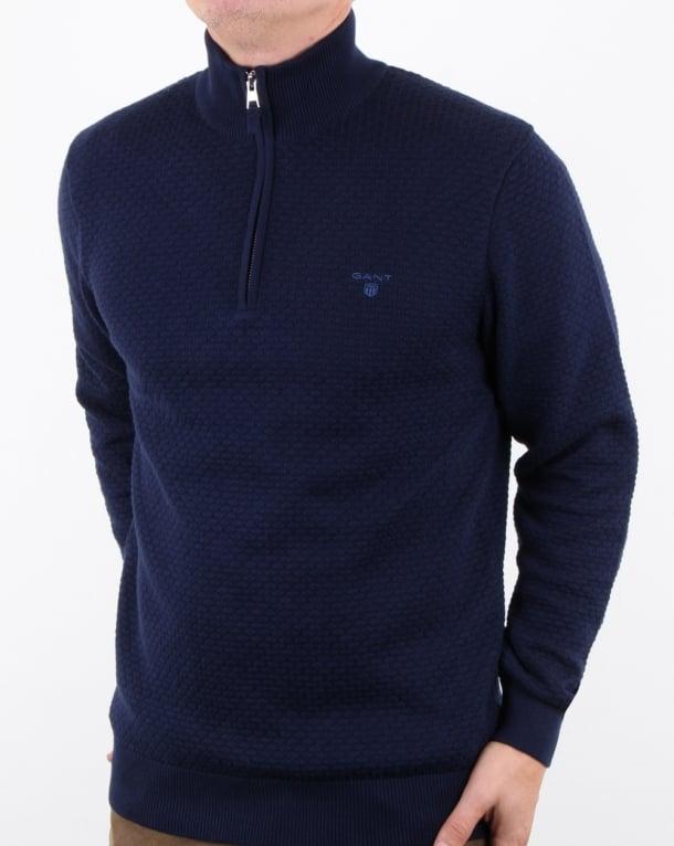 Gant Dot Texture Half Zip Classic Blue