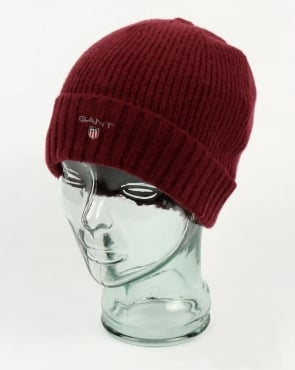 Gant Fleece Lined Beanie Purple Wine