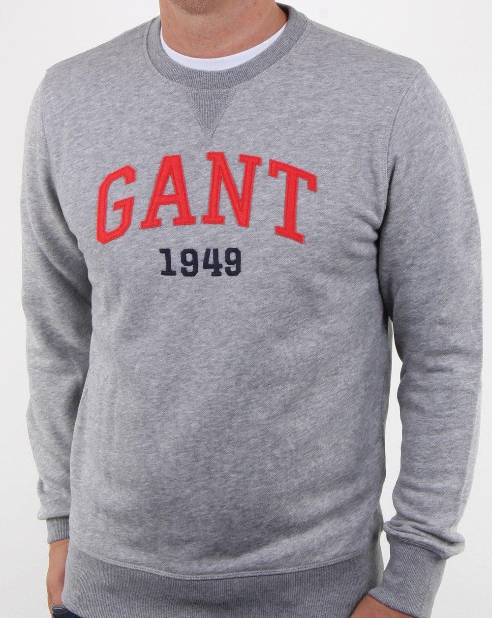 0c3dd8347918 Gant Gant Graphic Crew Neck Sweatshirt Grey Melange