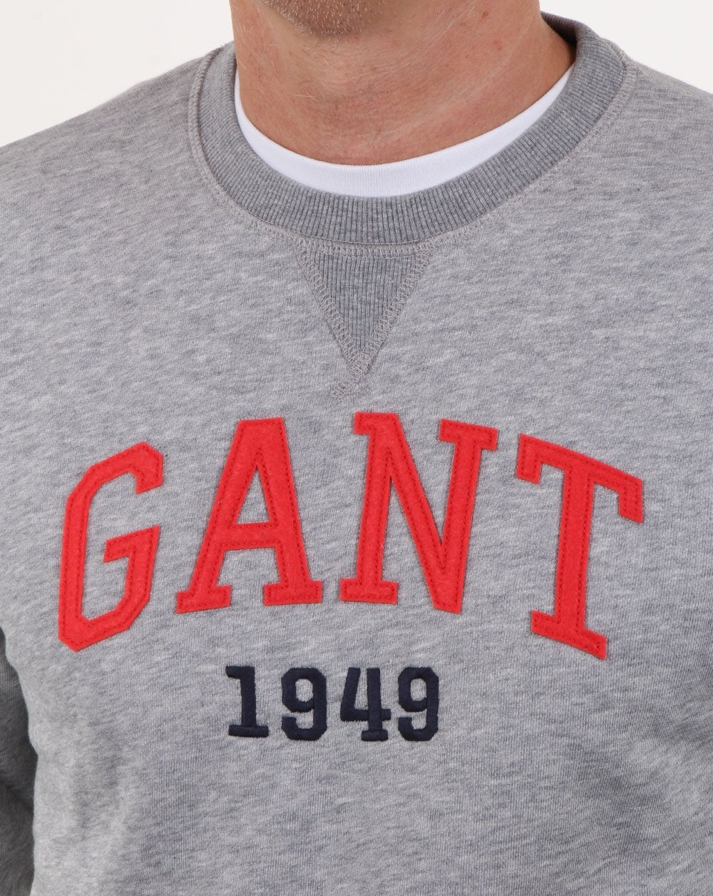 Gant Graphic Crew Neck Sweatshirt Grey Melange Mens Sweatshirt