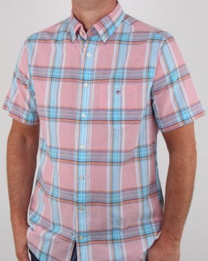 Gant Indian Madras Short Sleeve Shirt Pink