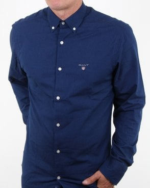 Gant Indigo Solid Button Down Shirt Dark Indigo