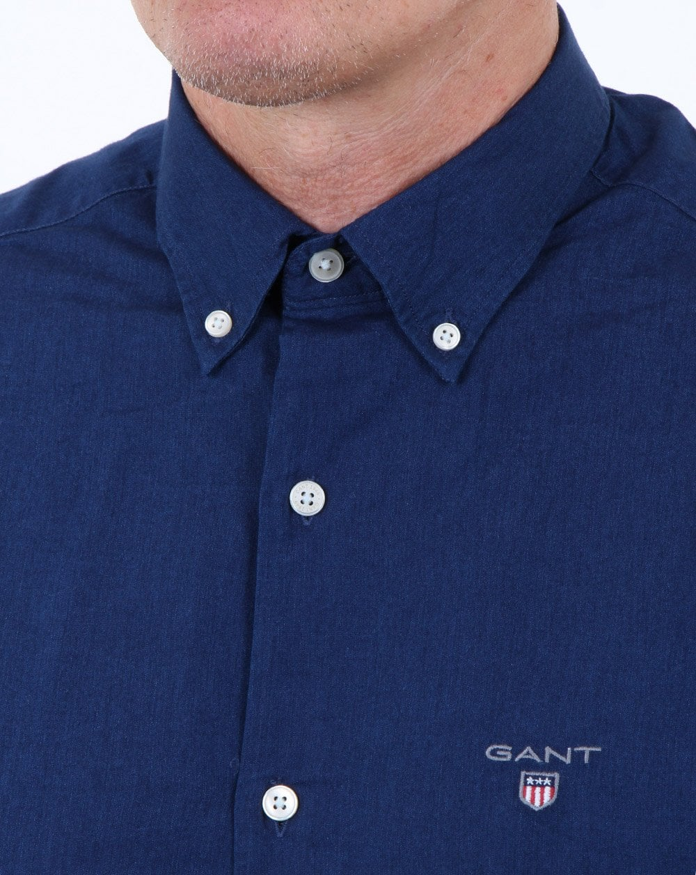 50d81d07afb Gant Indigo Solid Button Down Shirt Dark Indigo