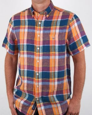 Gant Linen Madras Short Sleeve Shirt Orange