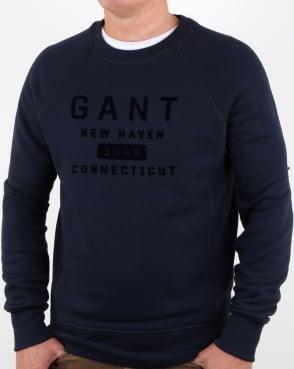 Gant New Haven Crew Sweat Evening Blue