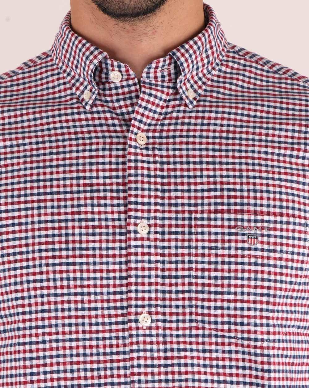 Gant Shirt Gant Men/'s The Oxford 3-Color Gingham Check Shirt Mahogny Red