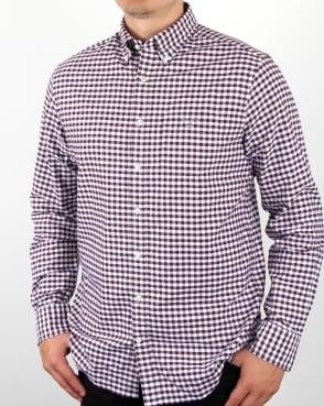 Gant Oxford Gingham Shirt Purple Wine