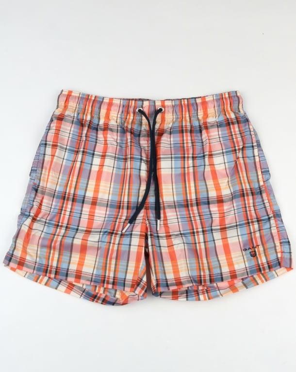 Gant Pastel Check Swim Shorts Coral