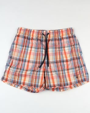 Gant Pastel Check Swim Shorts Coral