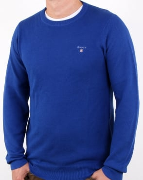Gant Pique Crew Neck Jumper Yale Blue