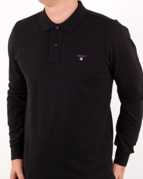 Gant Pique Ls Rugger Polo Black