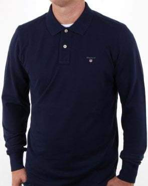 Gant Pique Ls Rugger Polo Evening Blue
