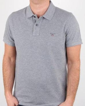 Gant Pique Rugger Polo Grey Melange