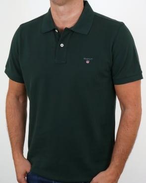 Gant Pique Rugger Polo Tartan Green