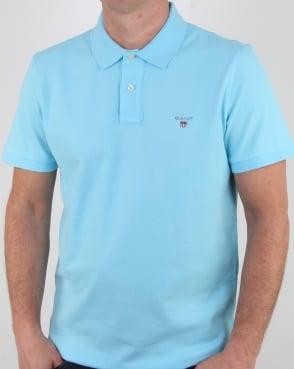 Gant Pique Rugger Polo Topaz Blue