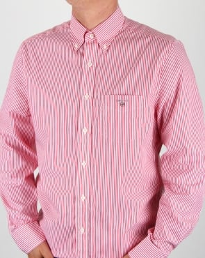 Gant Poplin Banker Striped Shirt Bright Red